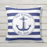 "Nautical Anchor Navy Blue Stripes Family Name Outdoor Pillow<br><div class=""desc"">This nautical pillow has a navy blue anchor with a circular rope border.   Personalize with your own family name and year of establishment,  or replace with other text.  Background is navy blue and white stripes.</div>"