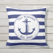 Nautical Anchor Navy Blue Stripes Family Name Outdoor Pillow