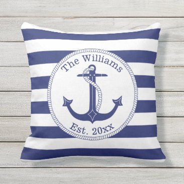 ilovedigis Nautical Anchor Navy Blue Stripes Family Name Outdoor Pillow