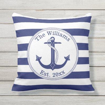 Nautical Navy Blue And White Striped Pillow | Zazzle.com