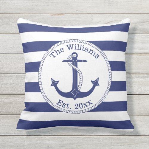 Nautical Anchor Navy Blue Stripes Family Name Outdoor Pillow