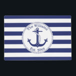 """Nautical Anchor Navy Blue Stripes Family Name Placemat<br><div class=""""desc"""">This nautical design has a navy blue anchor with a circular rope border.   Personalize with your own family name and year of establishment,  or replace with other text.  Background is navy blue and white stripes.</div>"""