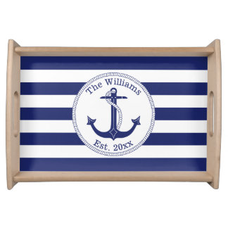 Nautical Anchor Navy Blue Stripes Family Name Serving Tray