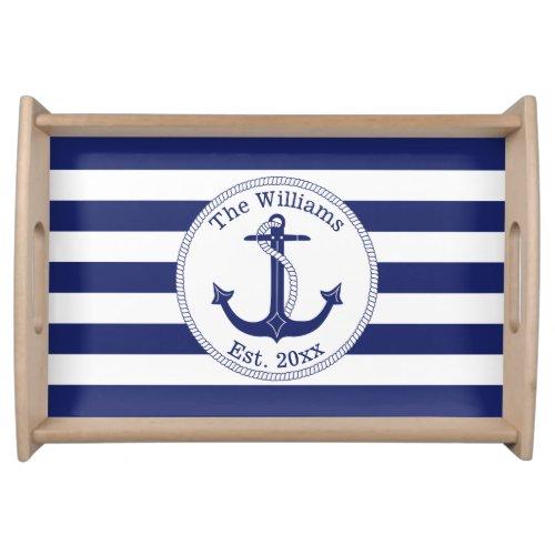 Nautical Anchor Navy Blue Stripes Family Name Serving Tray