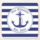 "Nautical Anchor Navy Blue Stripes Family Name Square Paper Coaster<br><div class=""desc"">This nautical design has a navy blue anchor with a circular rope border.   Personalize with your own family name and year of establishment,  or replace with other text.  Background is navy blue and white stripes.</div>"