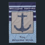 """Nautical Anchor &amp; Navy Blue Stripes Hand Towel<br><div class=""""desc"""">This will look splendid in a nautical themed decor or to add a splash of color to a plain kitchen. Perfect for a boat&#39;s galley or even your own kitchen. This anchor design will be loved and admired by both adults and children. Easy to customize with your own monogram or...</div>"""