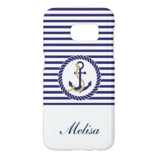 Nautical Anchor Navy Blue Stripes Name Samsung Galaxy S7 Case