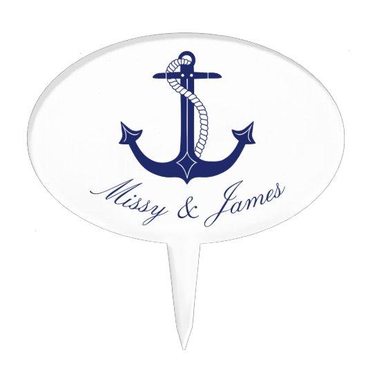 Nautical Anchor Navy Blue Typography Wedding Cake Topper
