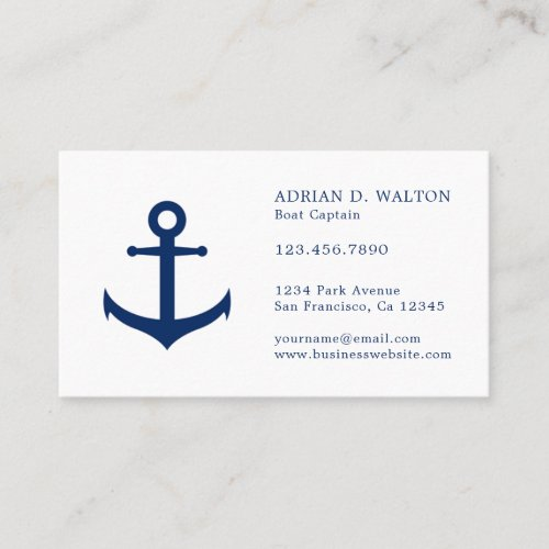 Nautical Anchor Navy Blue  White Professional Business Card