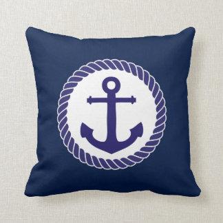 Nautical Anchor Navy Blue White Throw Pillow