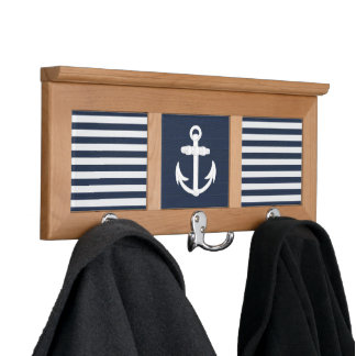 Nautical Anchor Navy Blue/White Wall Mounted Coat Rack