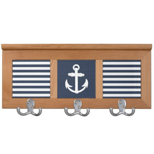 nautical anchor navy blue white wall mounted coat rack zazzle. Black Bedroom Furniture Sets. Home Design Ideas