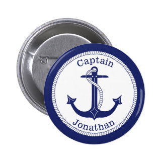 Nautical Anchor Navy Captain Personalized Button