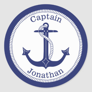 Personalized Captain Decal Peel and Stick Repositionable Nautical Sticker Boat Decoration