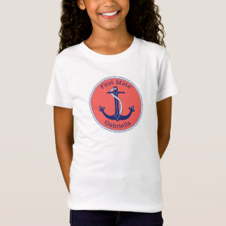 Nautical Anchor Navy Coral First Mate Personalized T-Shirt