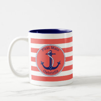 Nautical Anchor Navy Coral First Mate Personalized Two-Tone Coffee Mug