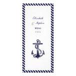 Nautical Anchor Navy Diag Stripe 2 Menu Card Full Color Rack Card