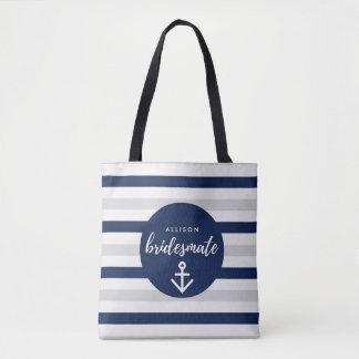 Nautical Anchor Navy Gray Bridesmaid Bridesmate Tote Bag