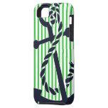 Nautical Anchor Navy Green Stripe iphone Case 4  iPhone 5 Case