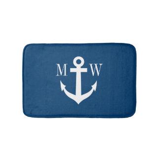 Nautical anchor navy monogram non slip bath mat