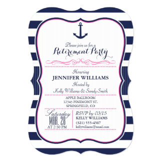 Nautical Anchor; Navy & Pink Retirement Party Card