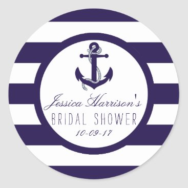 Beach Themed Nautical Anchor Navy Stripe Bridal Shower Favor Classic Round Sticker