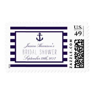 Beach Themed Nautical Anchor Navy Stripe Bridal Shower Postage
