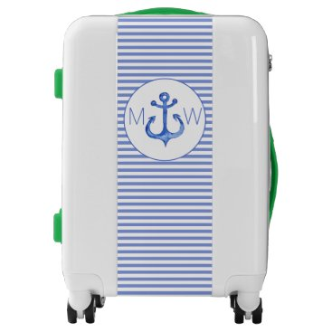 Beach Themed Nautical Anchor - Navy Striped Monogram Carry On Luggage