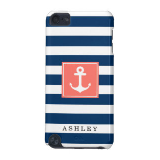 Nautical Anchor Navy Stripes Pattern Monogram Name iPod Touch 5G Cases