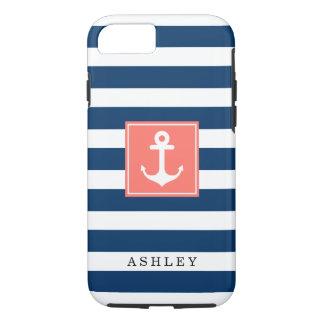 Nautical Anchor Navy Stripes Pattern Monogram Name iPhone 7 Case