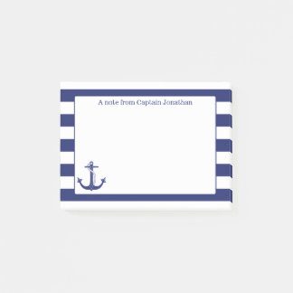 Nautical Anchor Navy Stripes Personalized 4 x 3 Post-it Notes