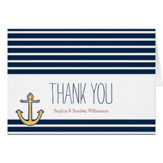 Nautical Anchor Navy Stripes Thank you Stationery Note Card