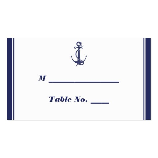 Nautical Anchor Navy Wedding Place Cards Business Cards