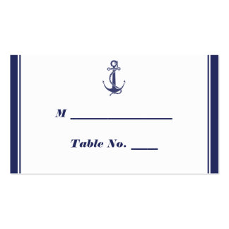 Nautical Anchor Navy Wedding Place Cards Double-Sided Standard Business Cards (Pack Of 100)