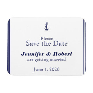 Nautical Anchor Navy Wedding Save the Date Rectangle Magnets