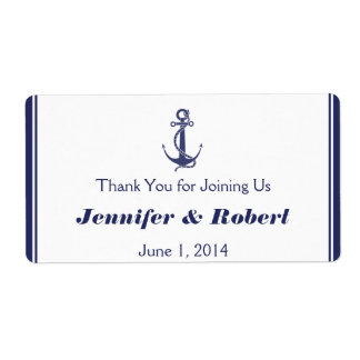 Nautical Anchor Navy Wedding Water Bottle Label