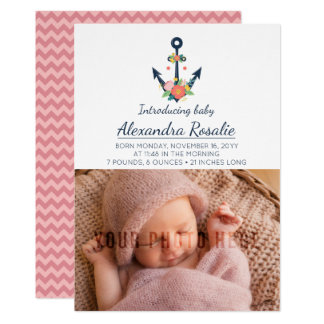 Nautical Anchor New Baby Girl Photo Announcement