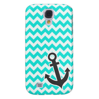 Nautical Anchor on Aqua Color Chevron Galaxy S4 Cases