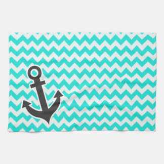 Nautical Anchor on Aqua Color Chevron Kitchen Towel