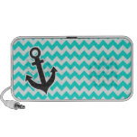 Nautical Anchor on Aqua Color Chevron Notebook Speaker