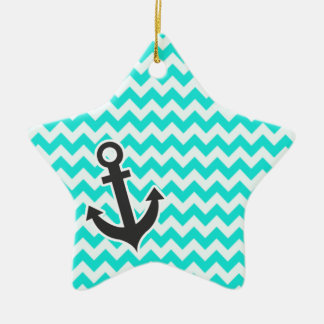 Nautical Anchor on Aqua Color Chevron Christmas Tree Ornaments