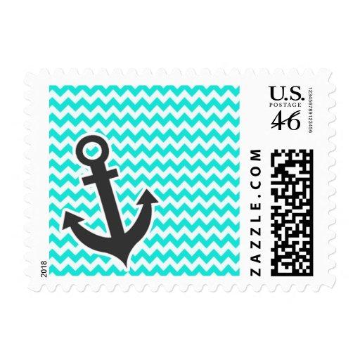 Nautical Anchor on Aqua Color Chevron Stamp