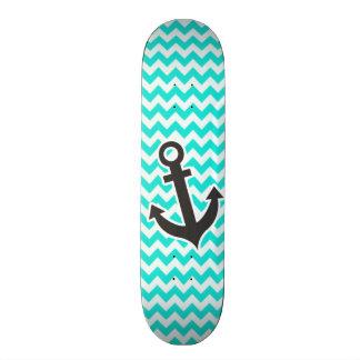 Nautical Anchor on Aqua Color Chevron Skateboard