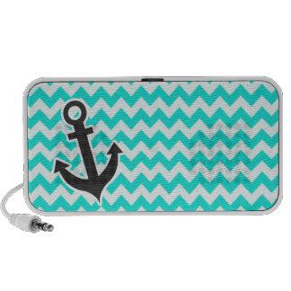 Nautical Anchor on Aqua Color Chevron Travelling Speaker