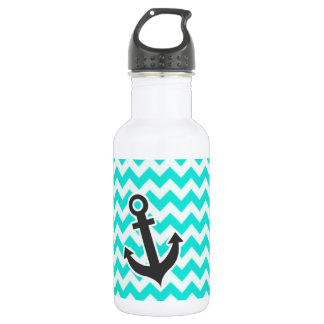 Nautical Anchor on Aqua Color Chevron Stainless Steel Water Bottle