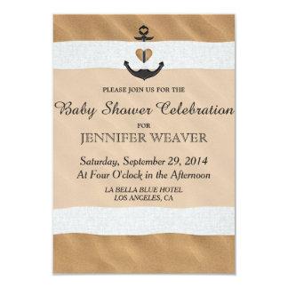 Nautical Anchor On Beach Sand and White Ribbon 3.5x5 Paper Invitation Card
