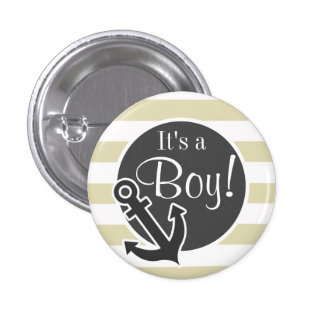 Nautical Anchor on Beige Stripes Striped Buttons