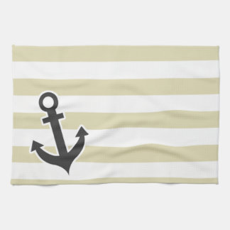 Nautical Anchor on Beige Stripes; Striped Hand Towel