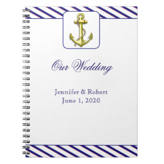 Nautical Anchor on Blue Stripe Notebook