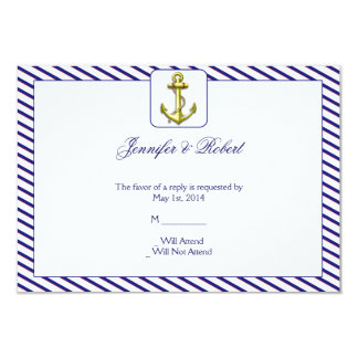"Nautical Anchor on Blue Stripe Response Card 3.5"" X 5"" Invitation Card"